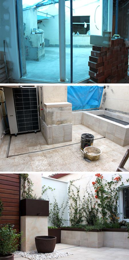 antes y despues jardin en patio